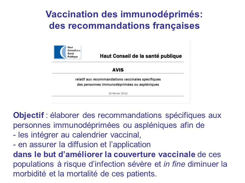 Vaccination des immunodéprimés: des recommandations françaises