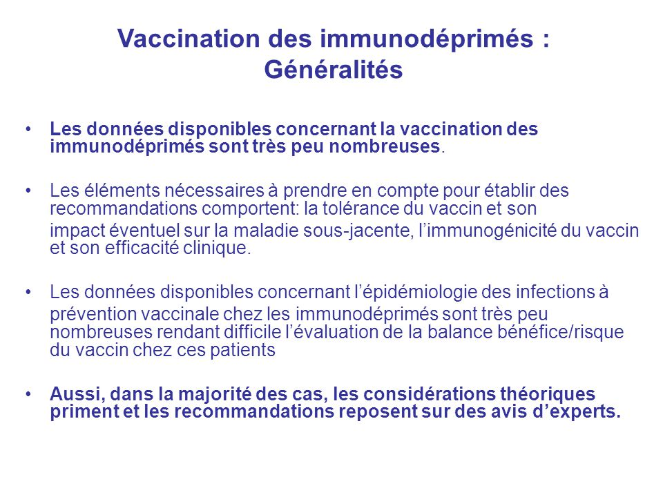 Vaccination des immunodéprimés :