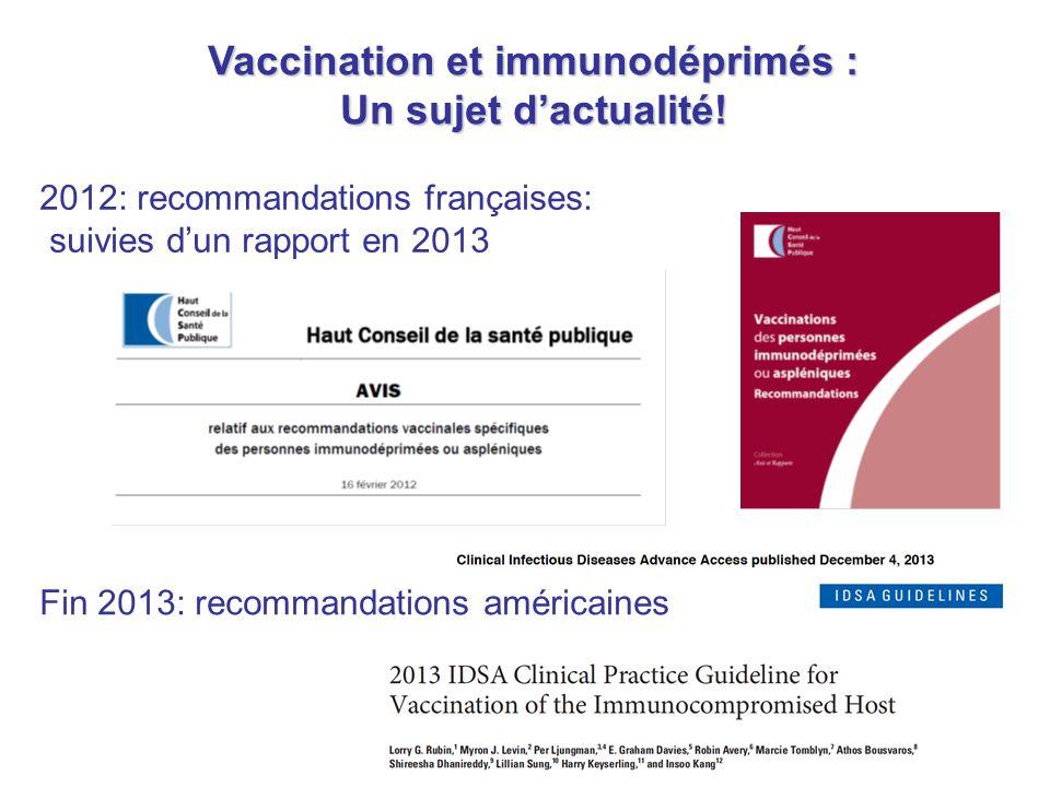 Vaccination et immunodéprimés :