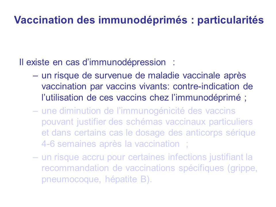 Vaccination des immunodéprimés : particularités