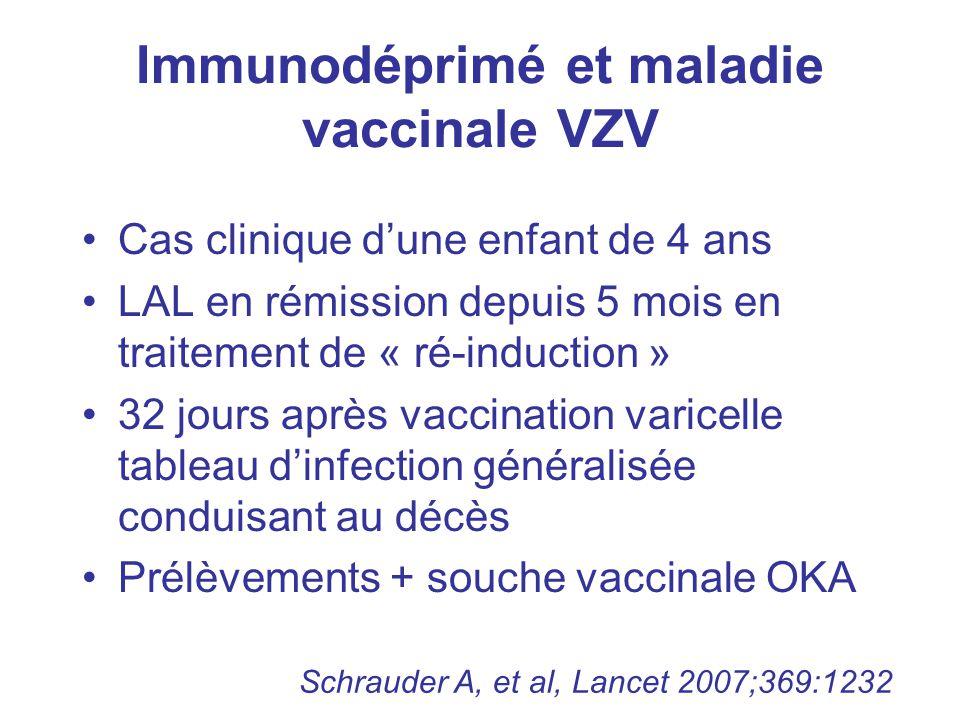 Immunodéprimé et maladie vaccinale VZV