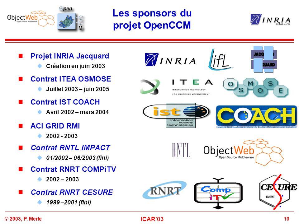 Les sponsors du projet OpenCCM