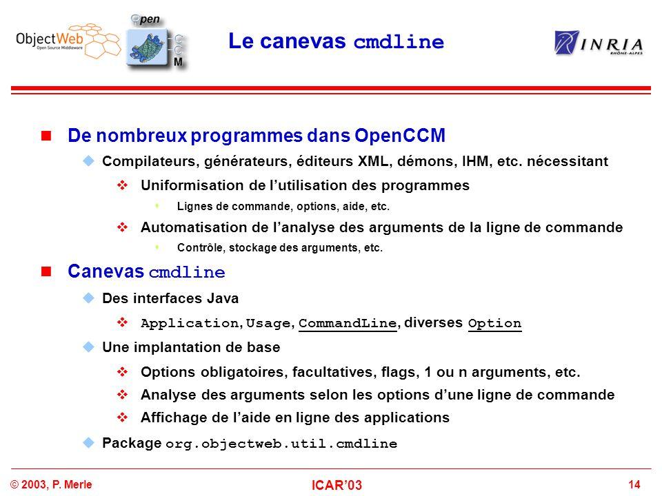 Le canevas cmdline De nombreux programmes dans OpenCCM Canevas cmdline