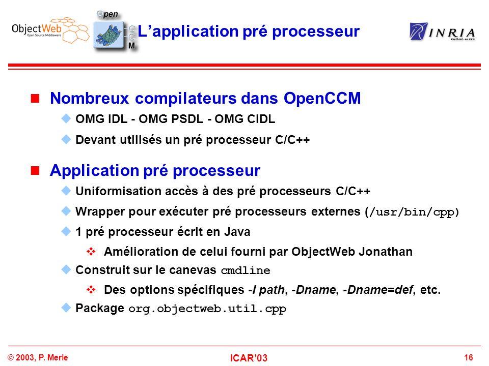 L'application pré processeur