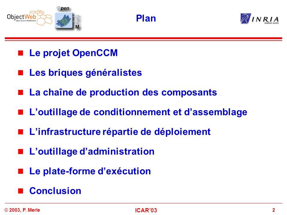 Plan Le projet OpenCCM. Les briques généralistes. La chaîne de production des composants. L'outillage de conditionnement et d'assemblage.