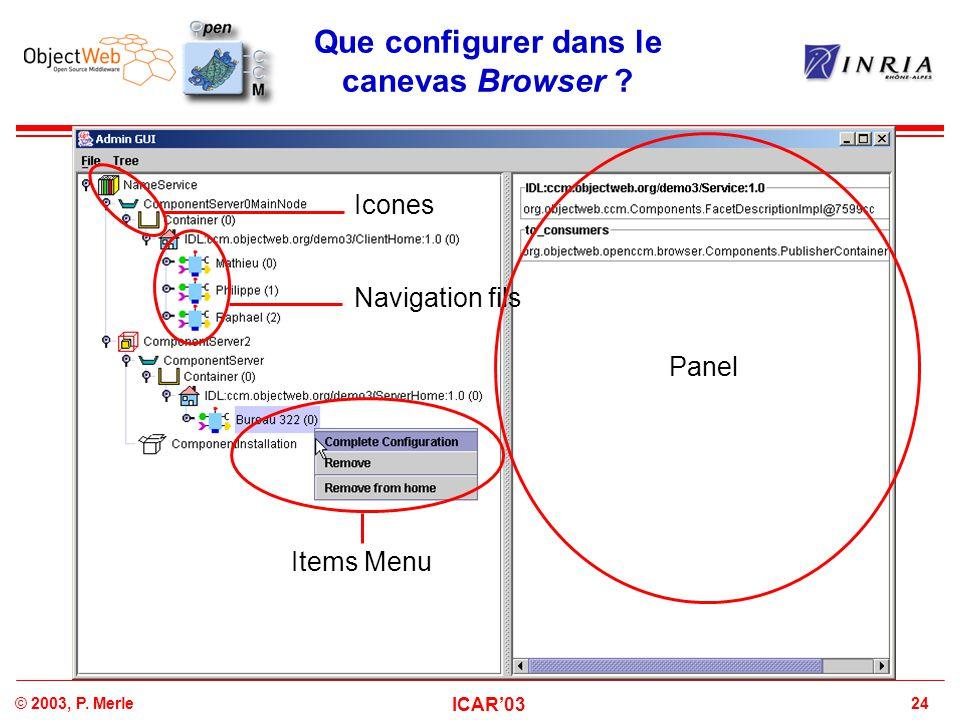 Que configurer dans le canevas Browser