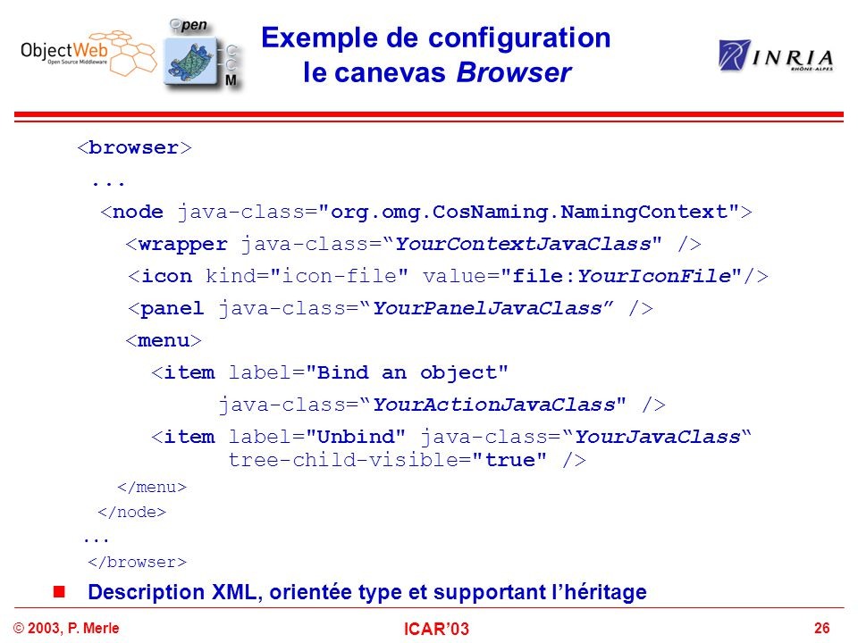 Exemple de configuration le canevas Browser