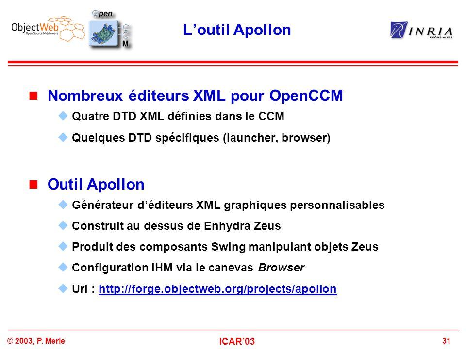 Nombreux éditeurs XML pour OpenCCM