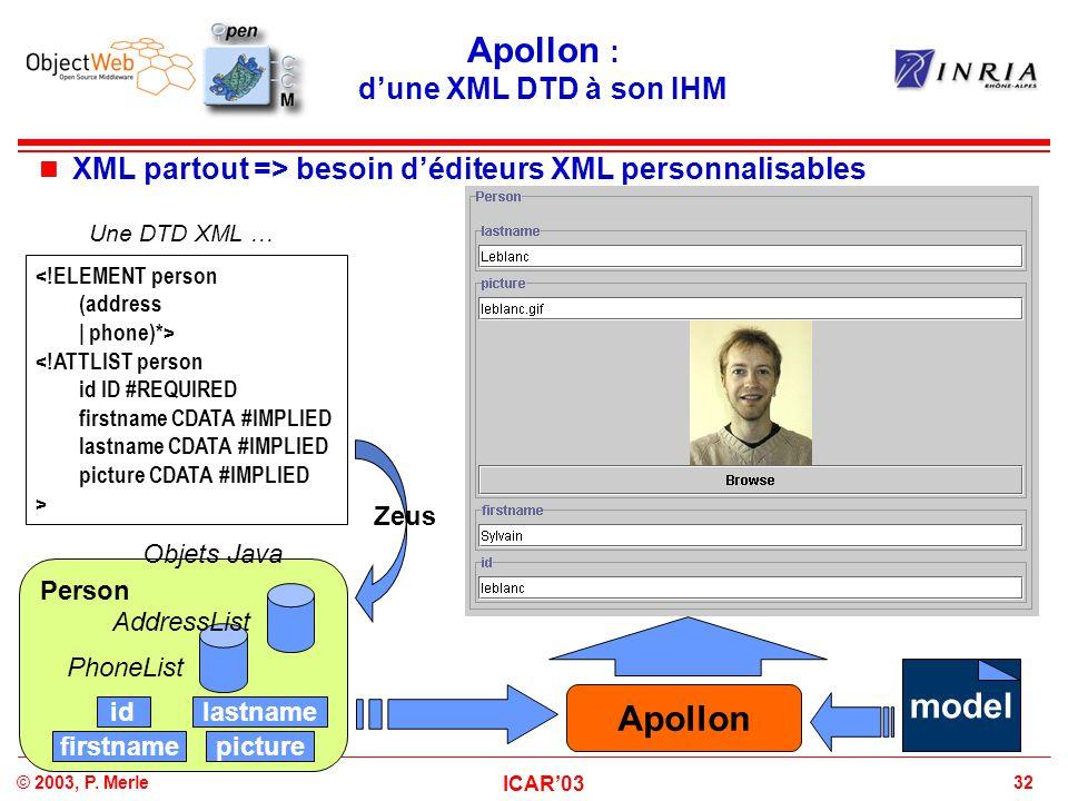 Apollon : d'une XML DTD à son IHM