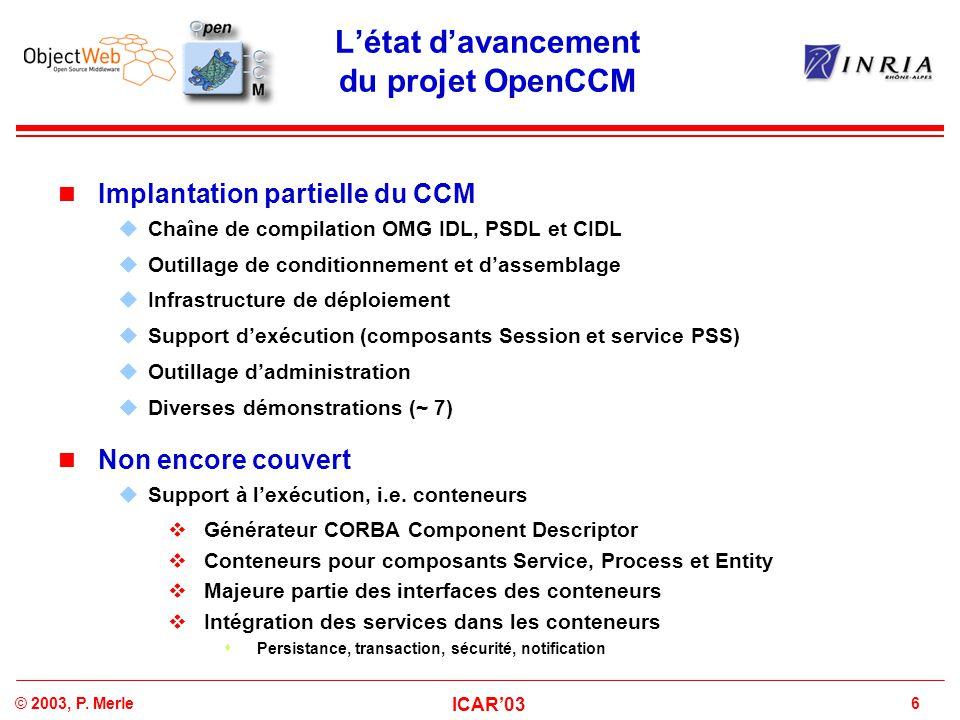 L'état d'avancement du projet OpenCCM