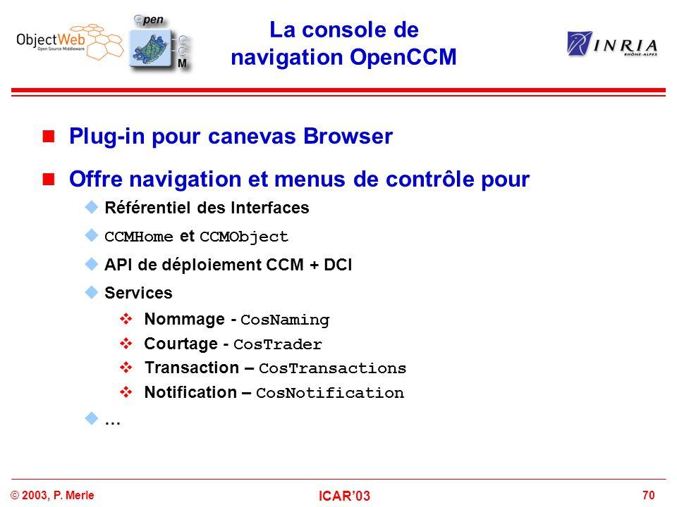 La console de navigation OpenCCM