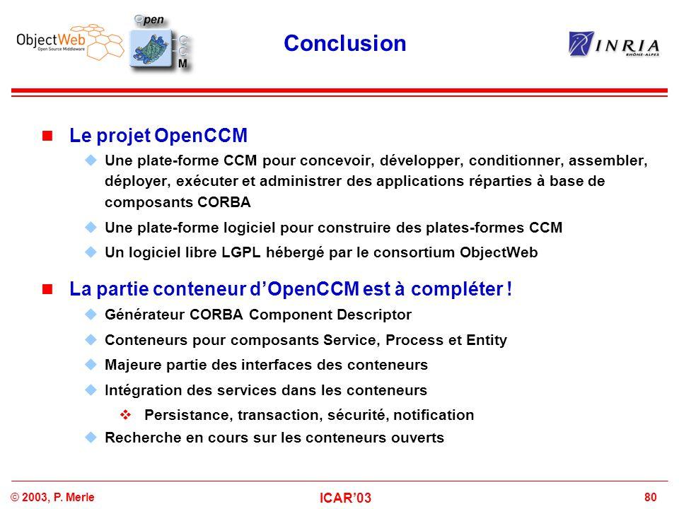 Conclusion Le projet OpenCCM
