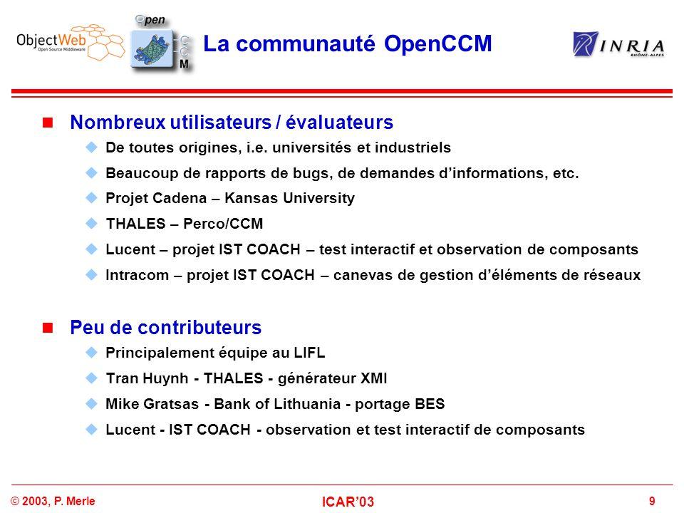 La communauté OpenCCM Nombreux utilisateurs / évaluateurs