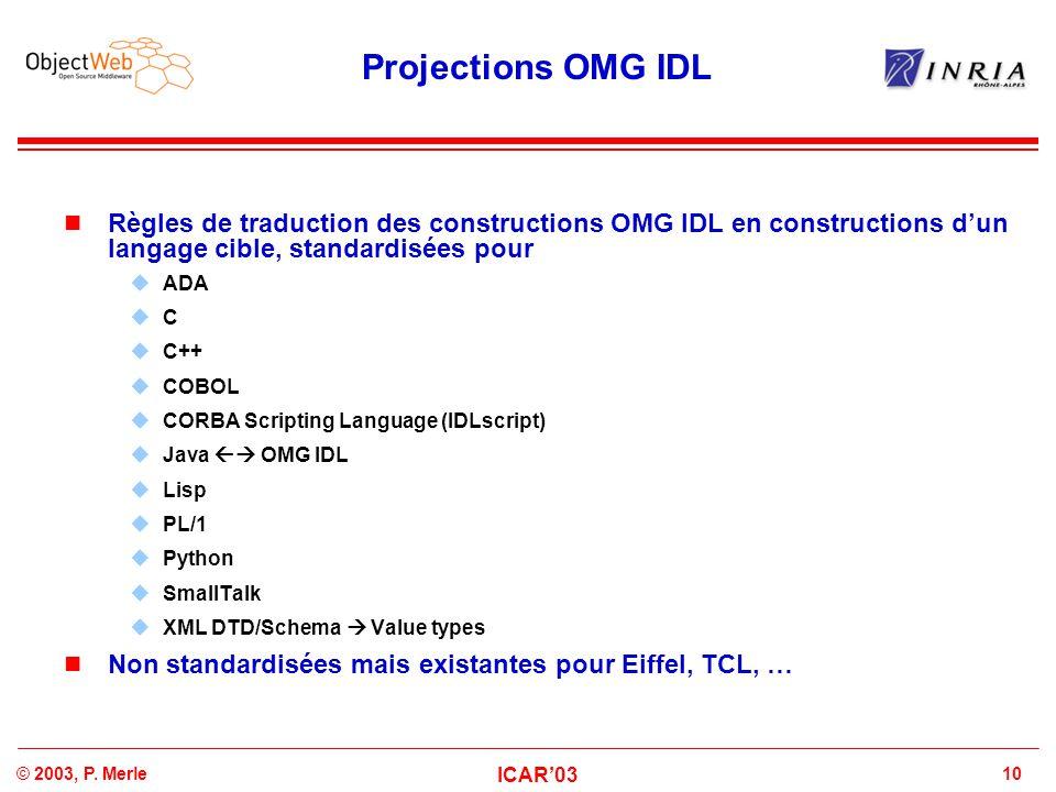 Projections OMG IDL Règles de traduction des constructions OMG IDL en constructions d'un langage cible, standardisées pour.