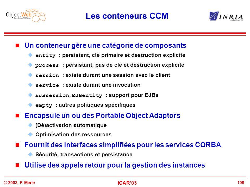 Les conteneurs CCM Un conteneur gère une catégorie de composants