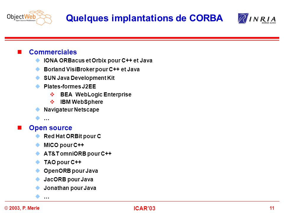 Quelques implantations de CORBA