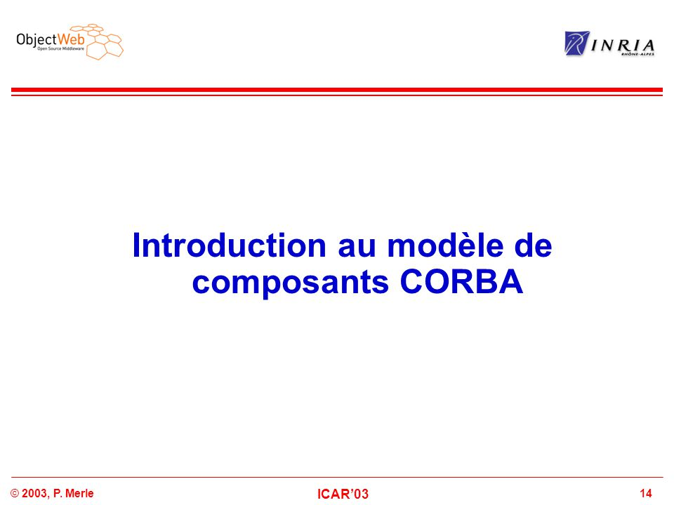 Introduction au modèle de composants CORBA