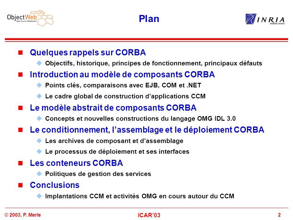 Plan Quelques rappels sur CORBA
