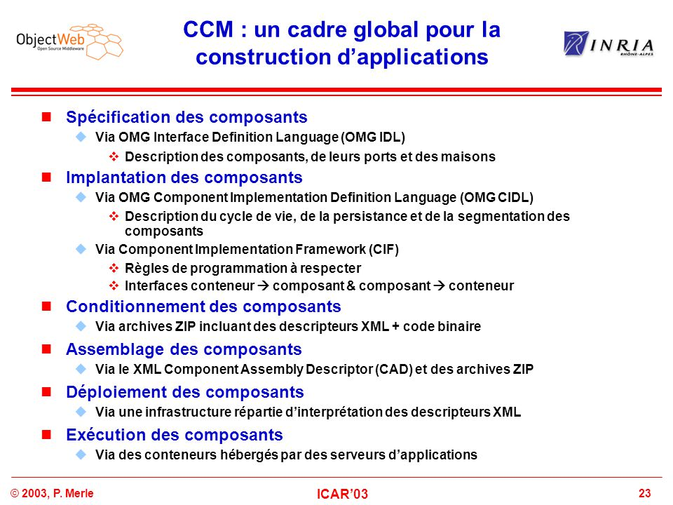 CCM : un cadre global pour la construction d'applications