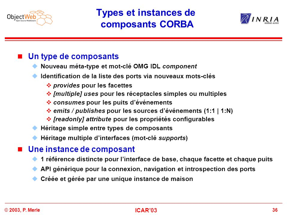 Types et instances de composants CORBA