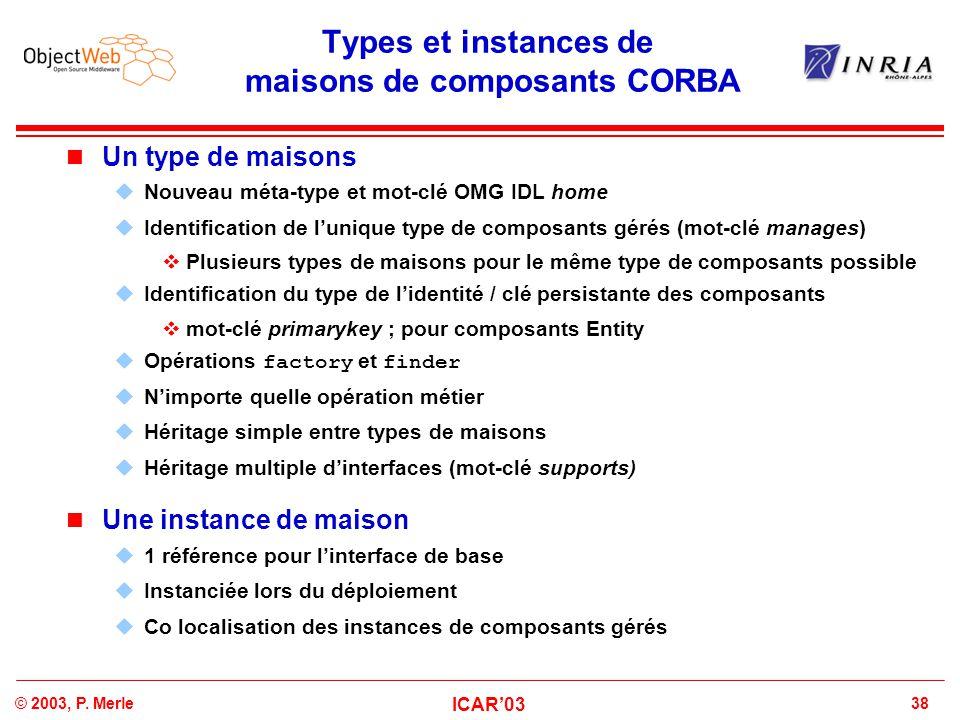 Types et instances de maisons de composants CORBA