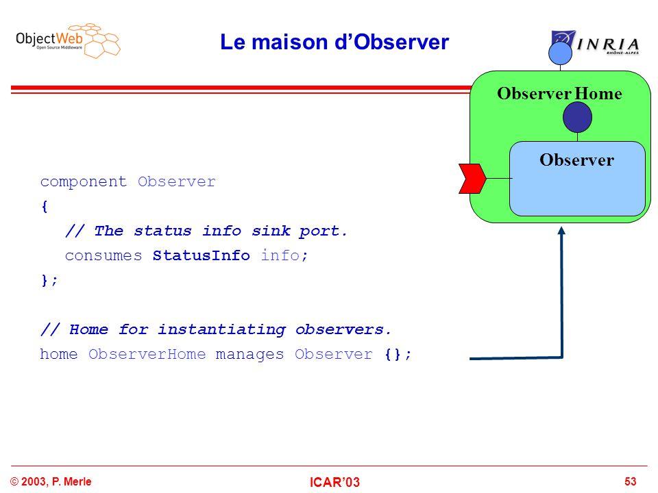 Le maison d'Observer Observer Home Observer component Observer {