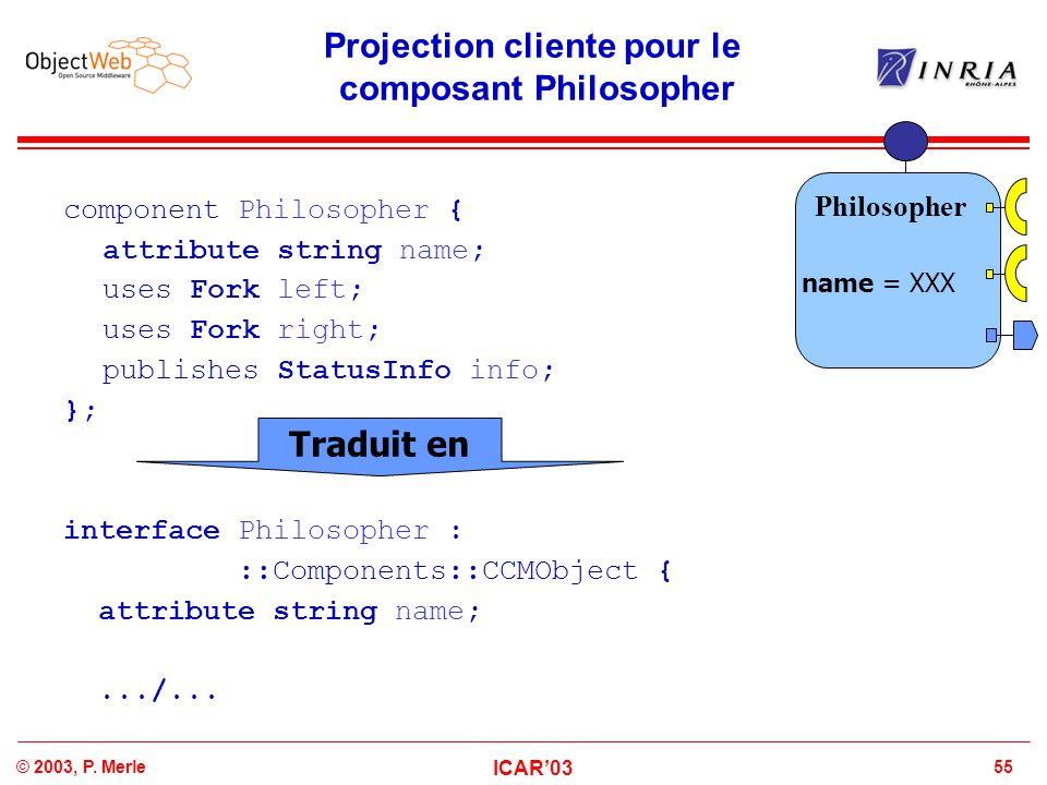 Projection cliente pour le composant Philosopher