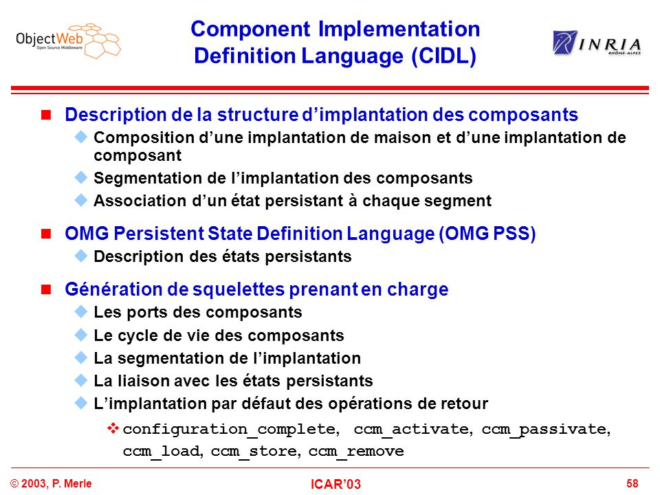 Component Implementation Definition Language (CIDL)