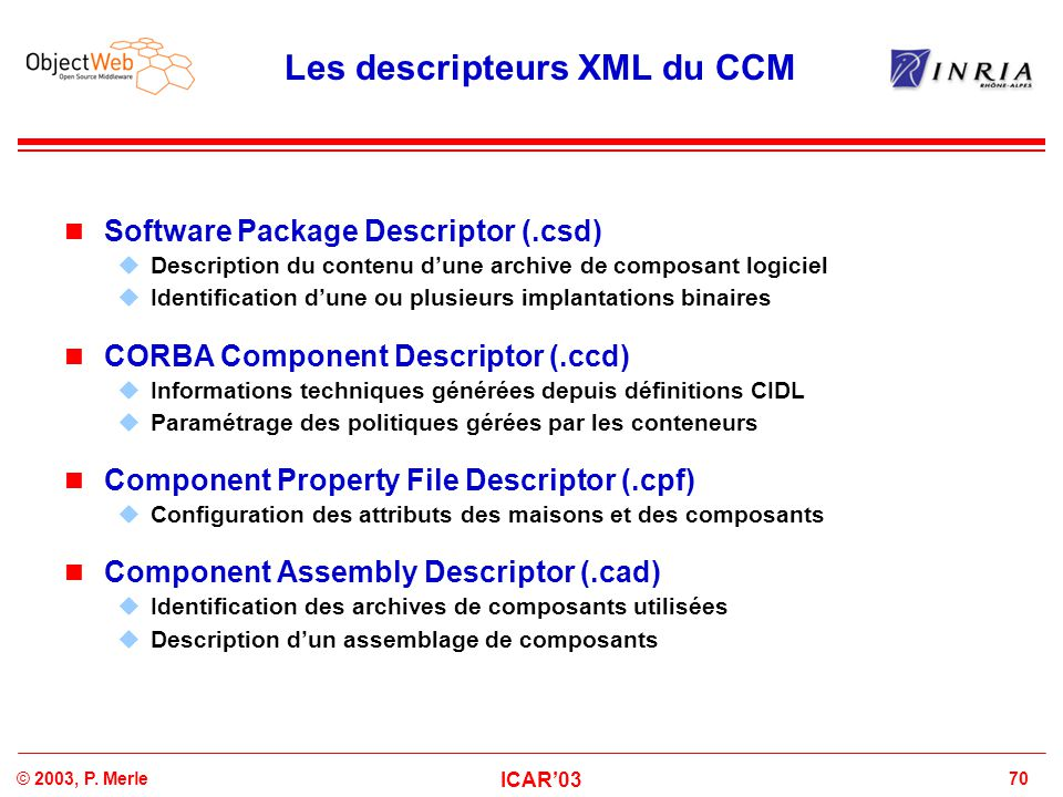 Les descripteurs XML du CCM
