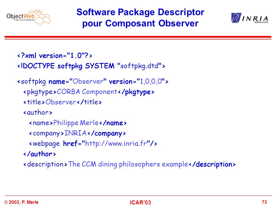 Software Package Descriptor pour Composant Observer