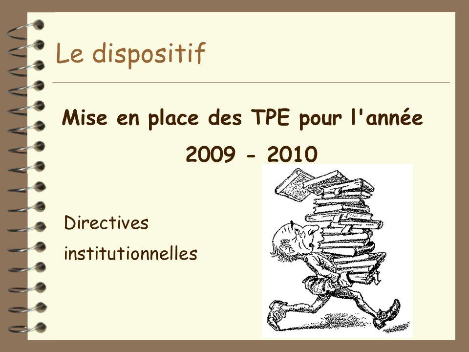 Mise en place des TPE pour l année 2009 - 2010