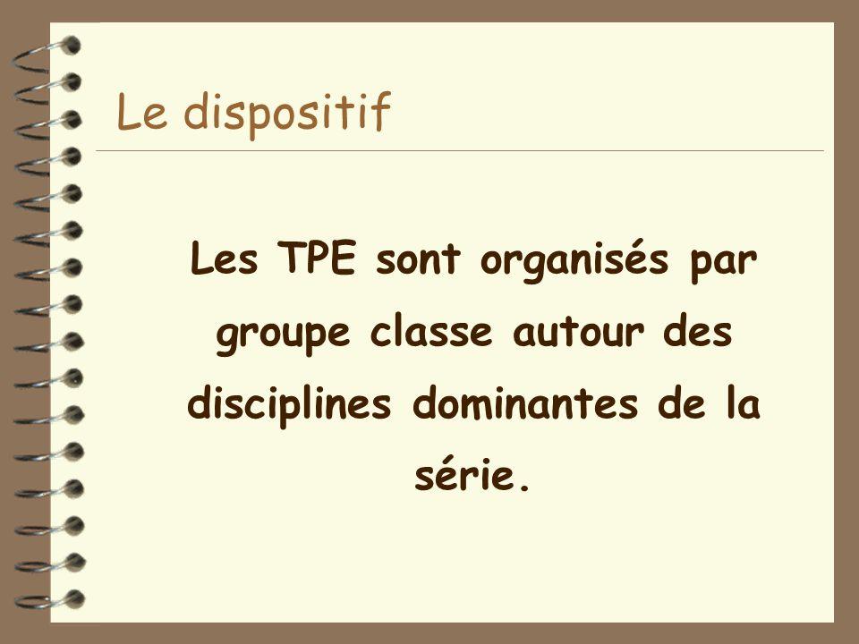 Le dispositif Les TPE sont organisés par groupe classe autour des disciplines dominantes de la série.