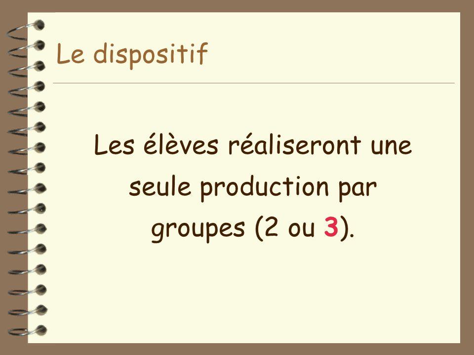 Les élèves réaliseront une seule production par groupes (2 ou 3).