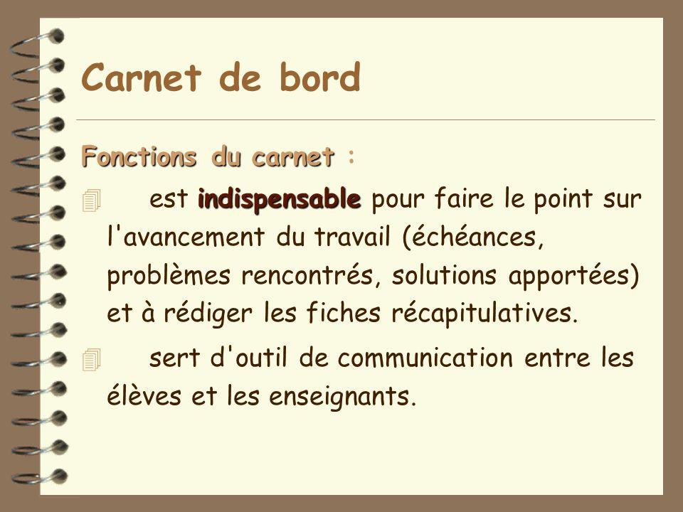 Carnet de bord Fonctions du carnet :
