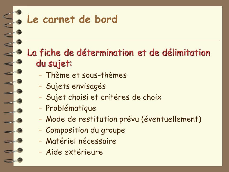 Le carnet de bord La fiche de détermination et de délimitation du sujet: Thème et sous-thèmes. Sujets envisagés.