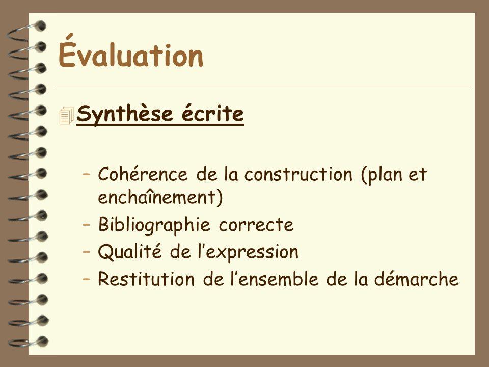 Évaluation Synthèse écrite