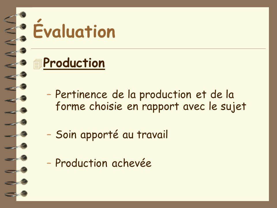 Évaluation Production
