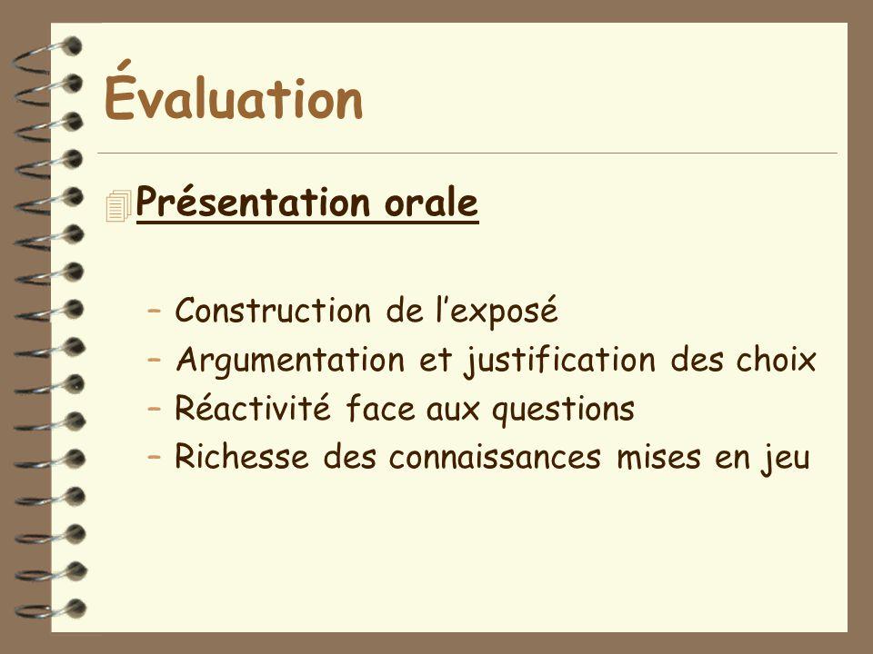Évaluation Présentation orale Construction de l'exposé