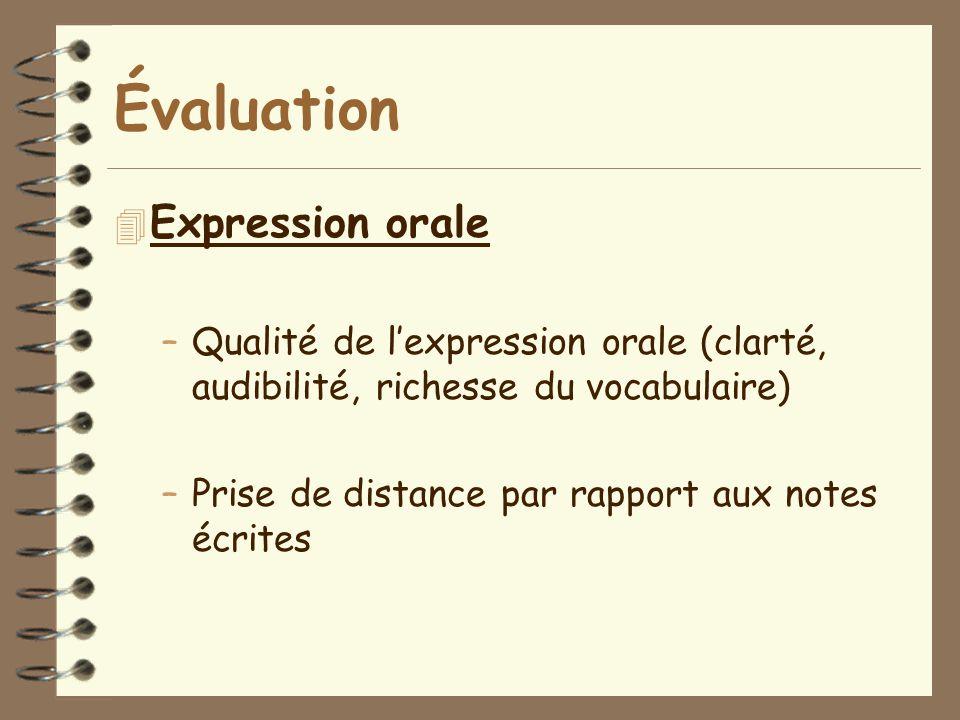 Évaluation Expression orale