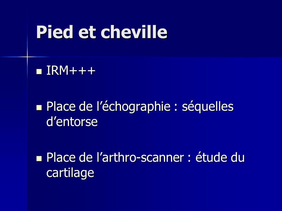 Pied et cheville IRM+++ Place de l'échographie : séquelles d'entorse