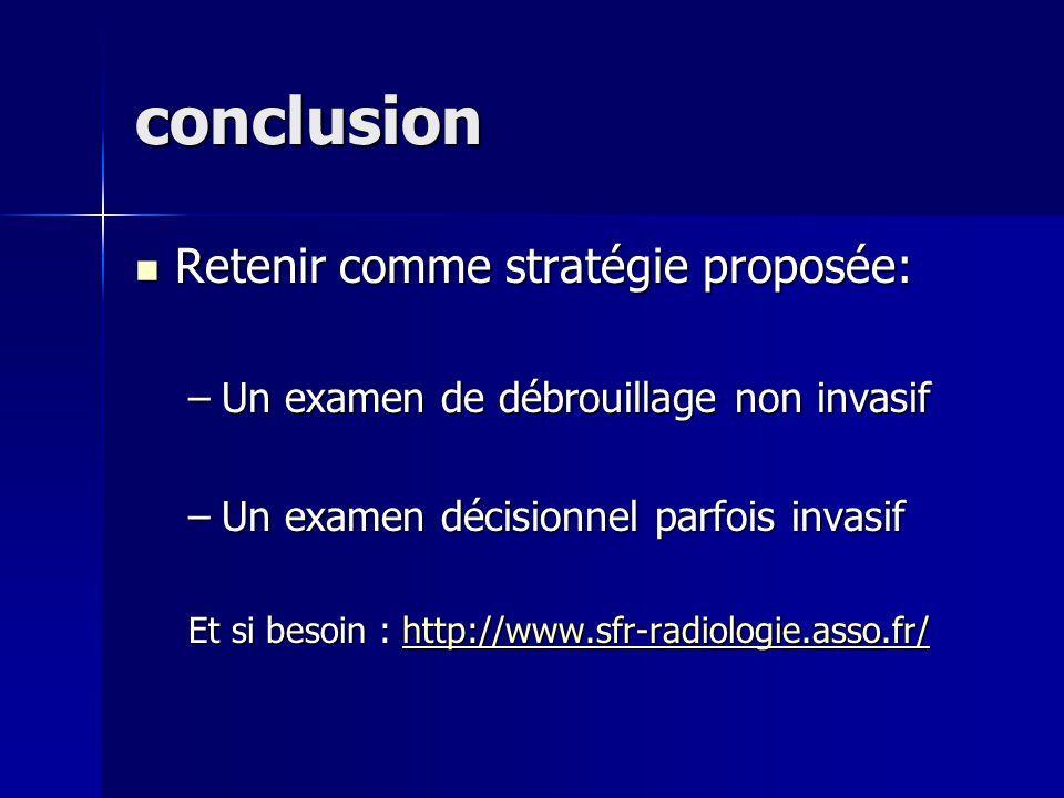conclusion Retenir comme stratégie proposée: