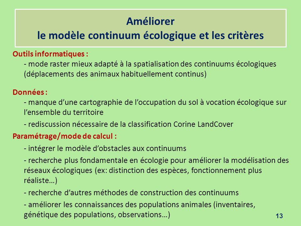 Améliorer le modèle continuum écologique et les critères