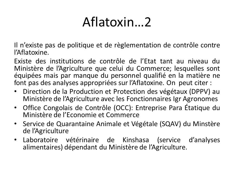 Aflatoxin…2 Il n'existe pas de politique et de règlementation de contrôle contre l'Aflatoxine.