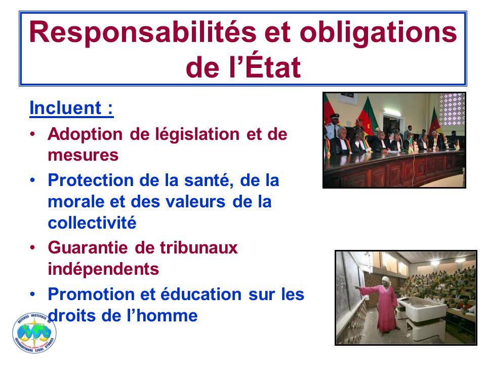 Responsabilités et obligations de l'État