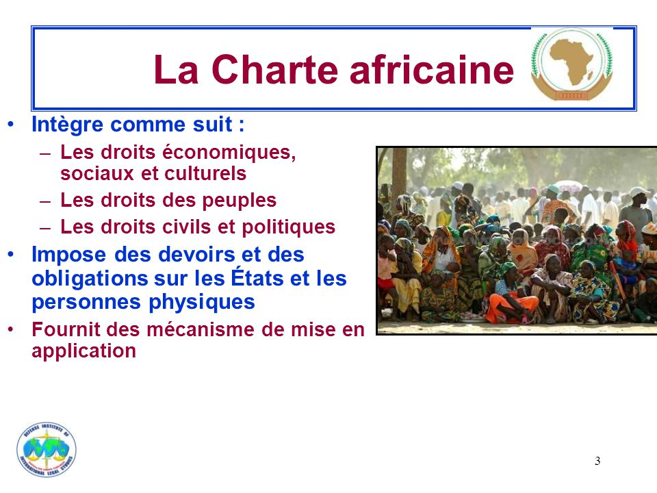 La Charte africaine Intègre comme suit :
