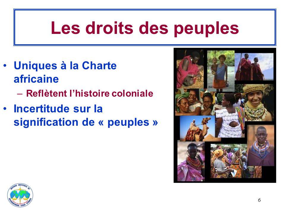 Les droits des peuples Uniques à la Charte africaine