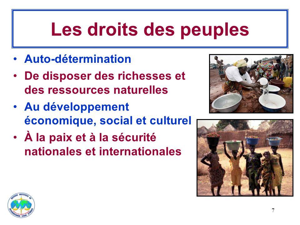 Les droits des peuples Auto-détermination