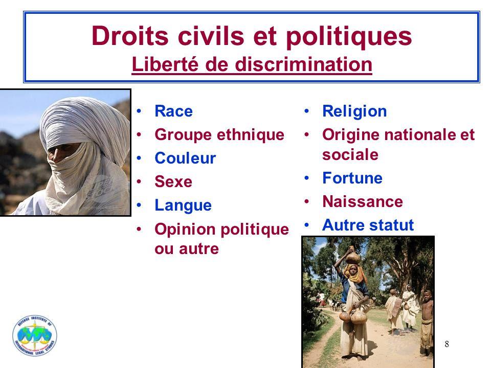 Droits civils et politiques Liberté de discrimination