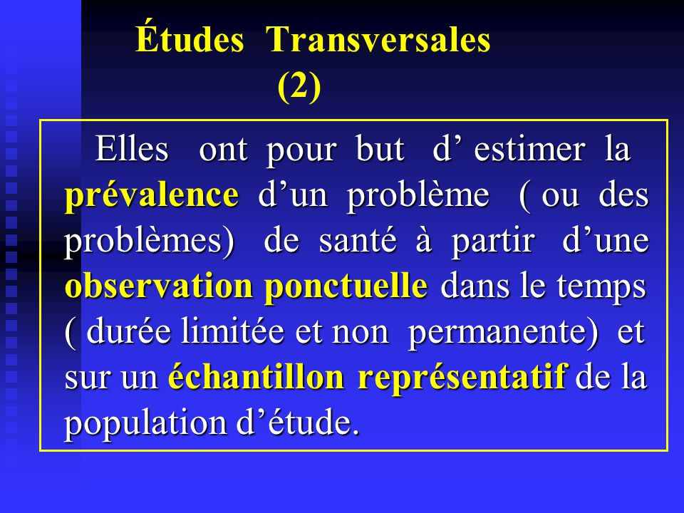 Études Transversales (2)