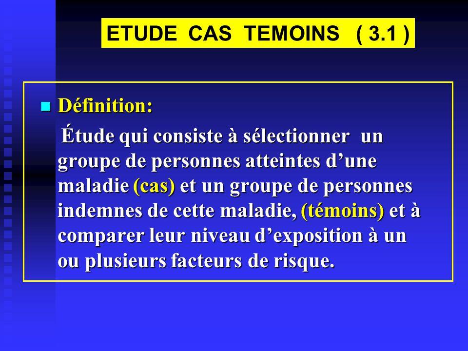 ETUDE CAS TEMOINS ( 3.1 ) Définition: